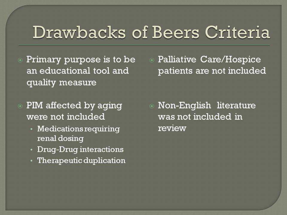 Drawbacks of Beers Criteria