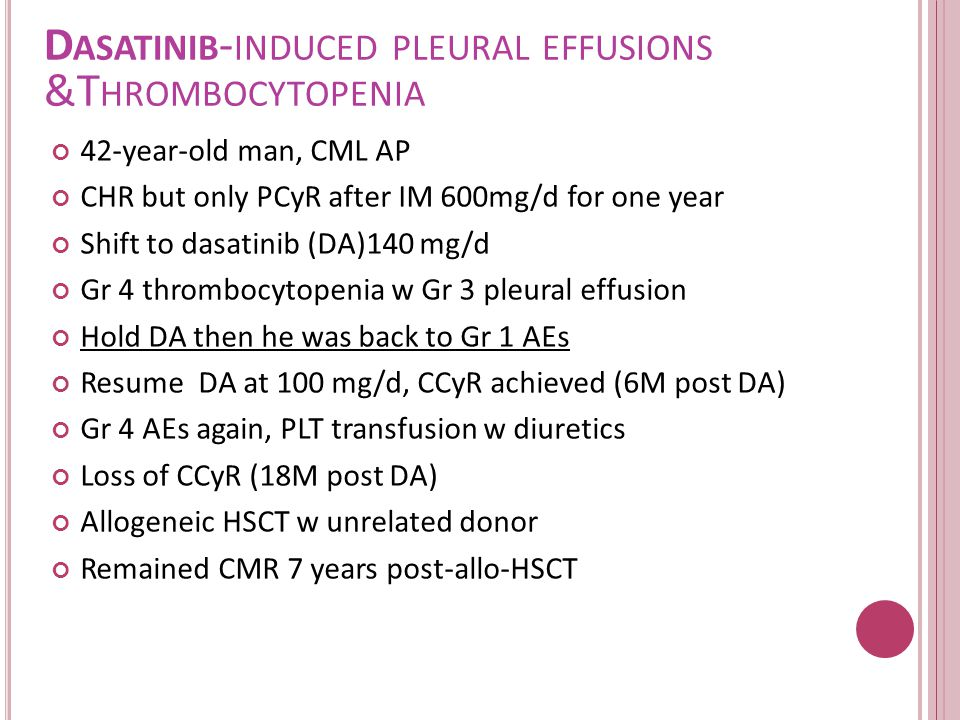 Dasatinib-induced pleural effusions &Thrombocytopenia