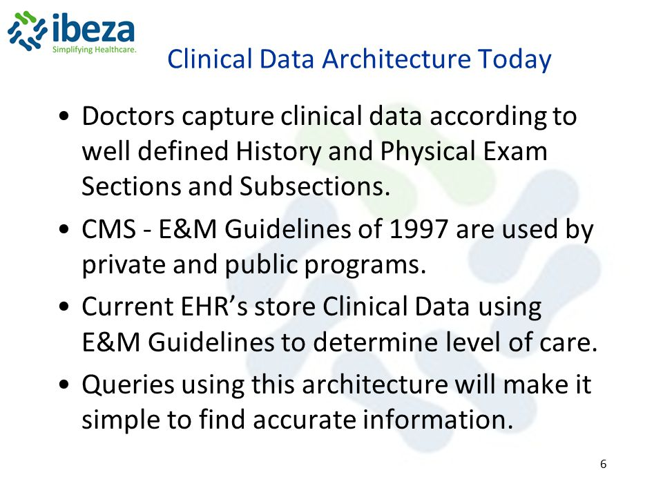 Clinical Data Architecture Today