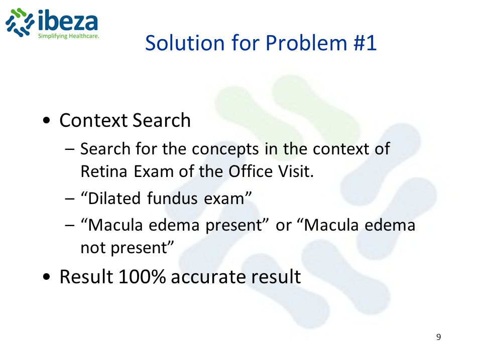 Solution for Problem #1 Context Search Result 100% accurate result