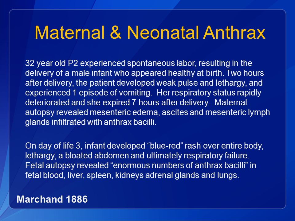 Maternal & Neonatal Anthrax