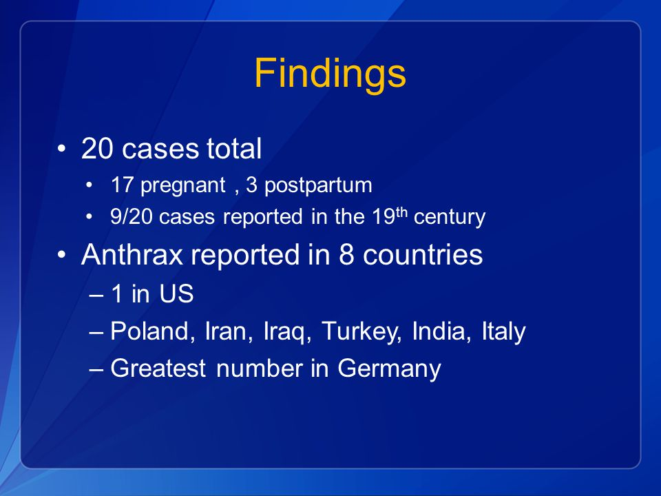 Findings 20 cases total Anthrax reported in 8 countries 1 in US