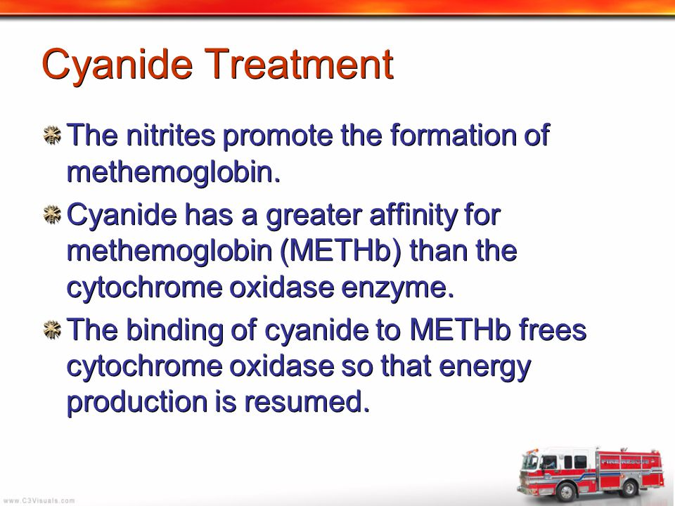Cyanide Treatment The nitrites promote the formation of methemoglobin.
