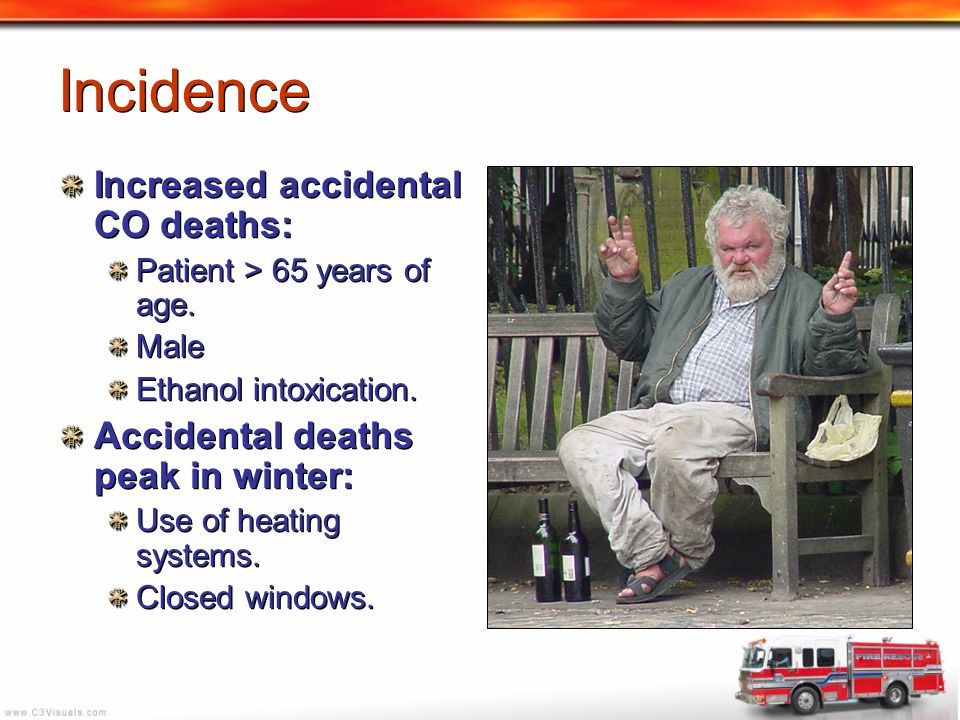 Incidence Increased accidental CO deaths: