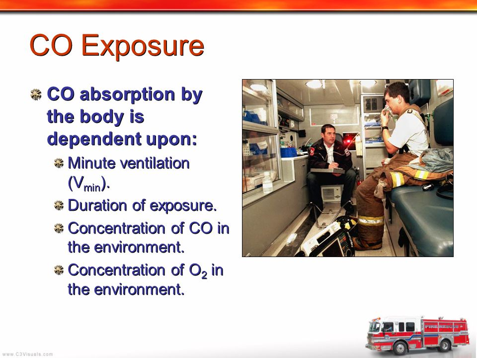 CO Exposure CO absorption by the body is dependent upon: