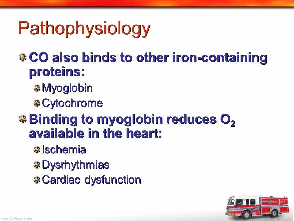 Pathophysiology CO also binds to other iron-containing proteins: