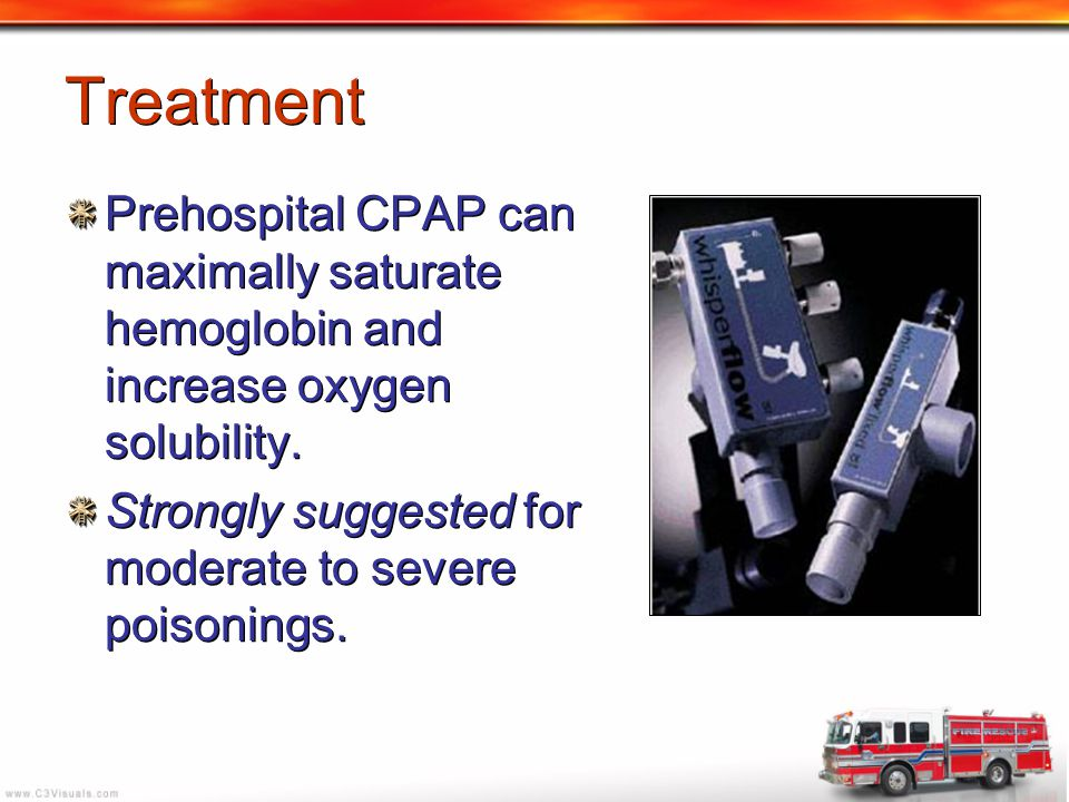Treatment Prehospital CPAP can maximally saturate hemoglobin and increase oxygen solubility.