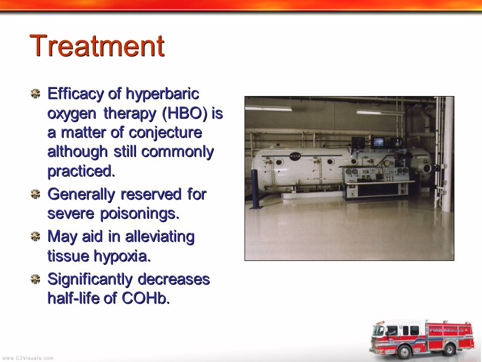 Treatment Efficacy of hyperbaric oxygen therapy (HBO) is a matter of conjecture although still commonly practiced.