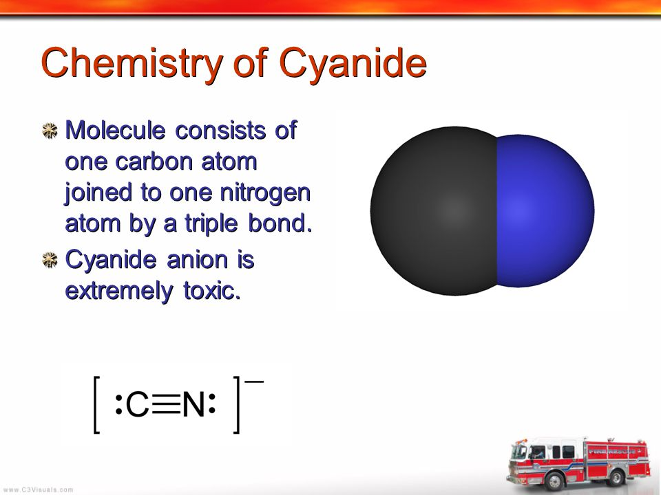 Chemistry of Cyanide Molecule consists of one carbon atom joined to one nitrogen atom by a triple bond.