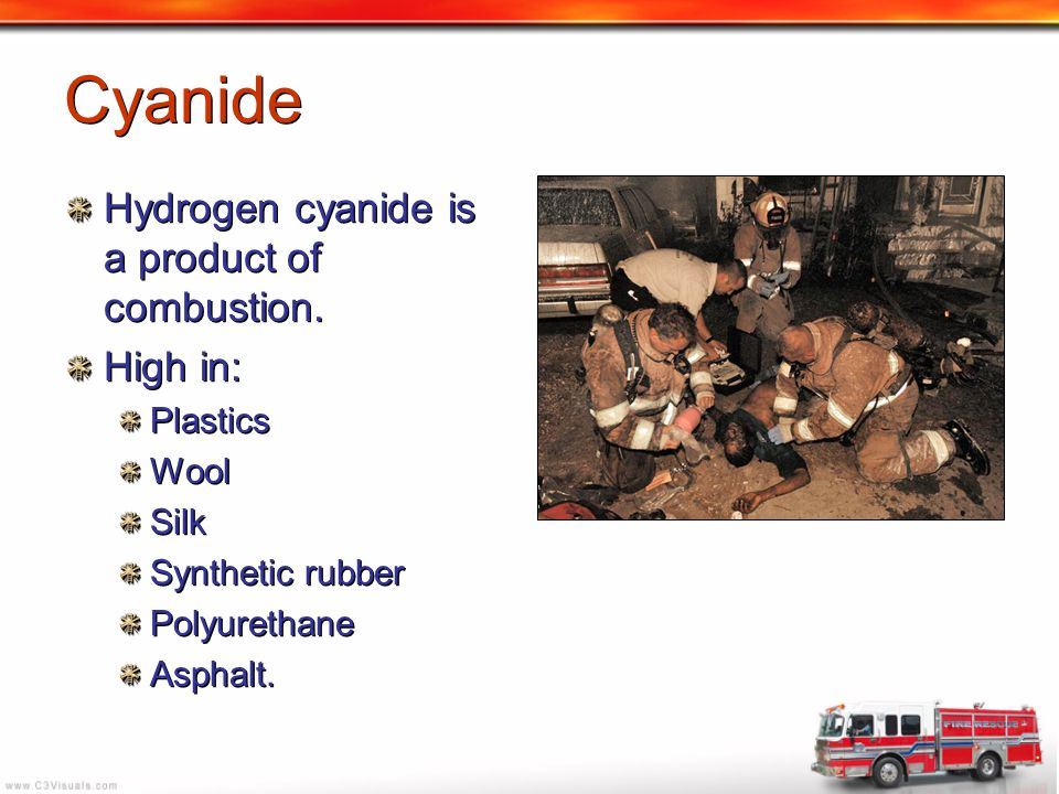 Cyanide Hydrogen cyanide is a product of combustion. High in: Plastics