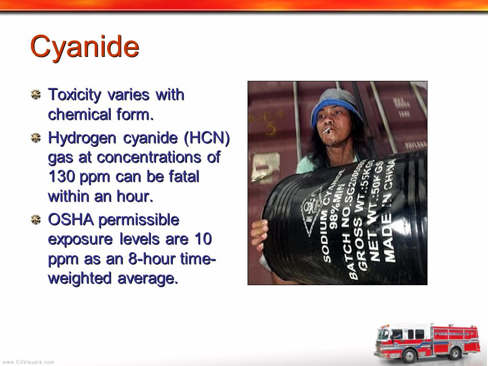 Cyanide Toxicity varies with chemical form.