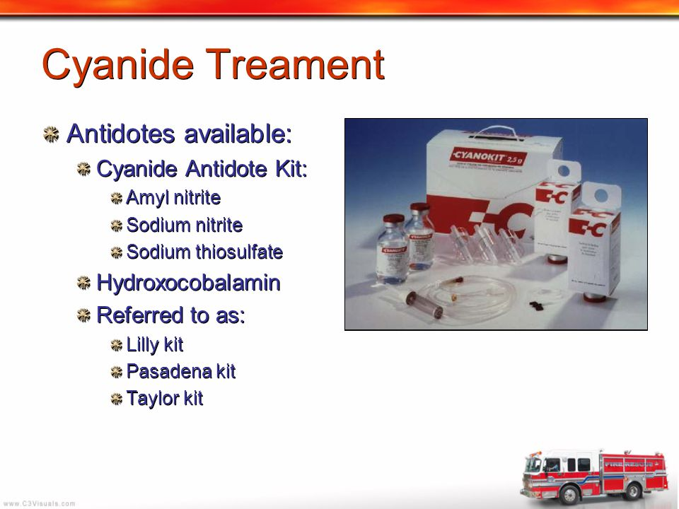 Cyanide Treament Antidotes available: Cyanide Antidote Kit: