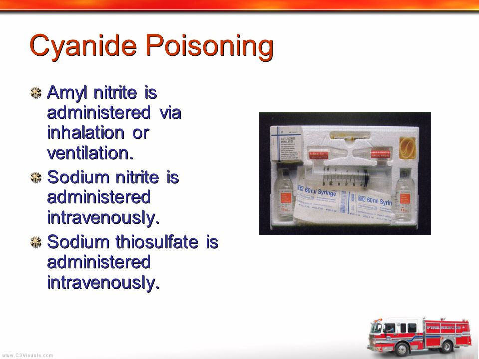 Cyanide Poisoning Amyl nitrite is administered via inhalation or ventilation. Sodium nitrite is administered intravenously.