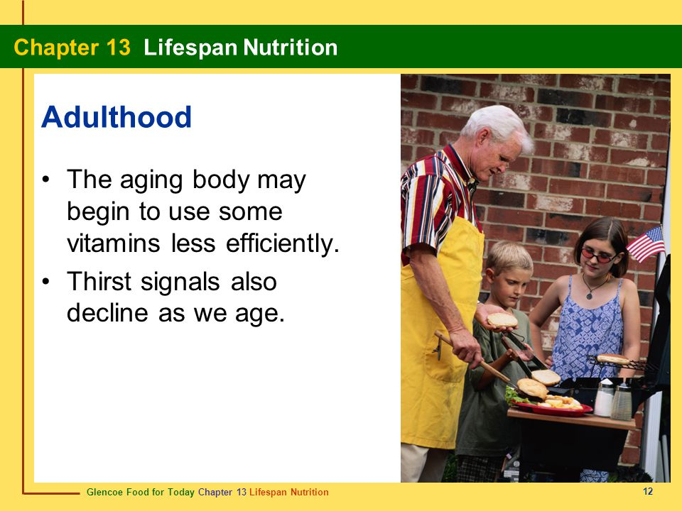 Adulthood The aging body may begin to use some vitamins less efficiently.