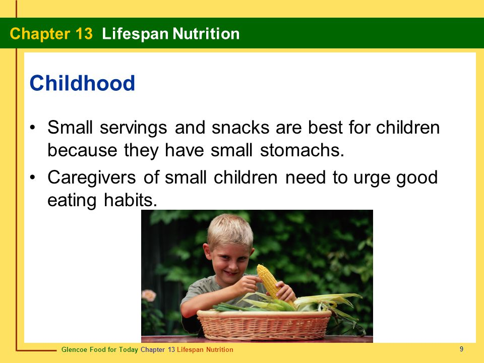 Childhood Small servings and snacks are best for children because they have small stomachs.