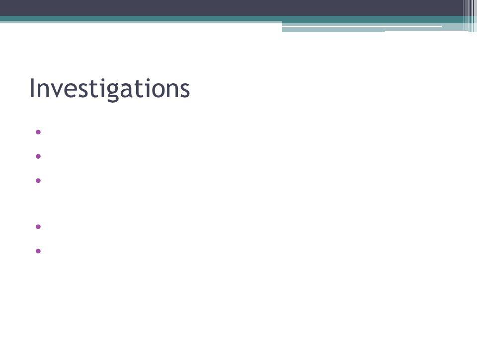Investigations Urine dip Urine microscopy