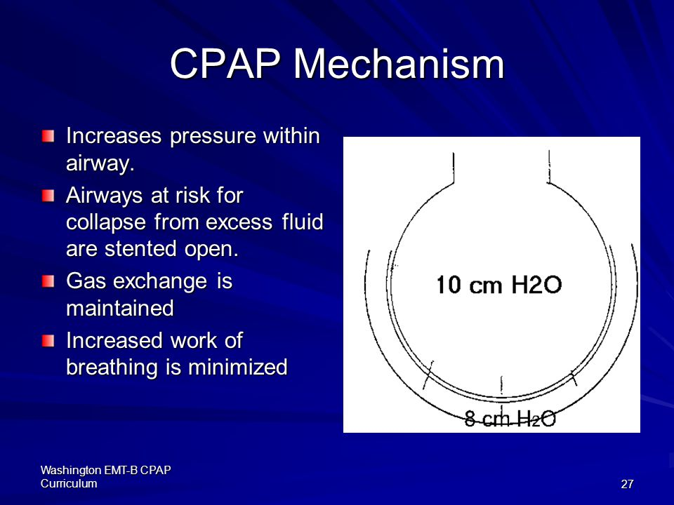 CPAP Mechanism Increases pressure within airway.