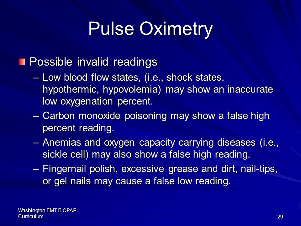 Pulse Oximetry Possible invalid readings