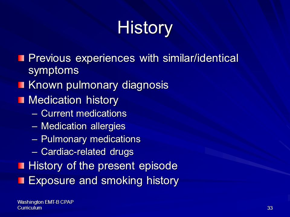 History Previous experiences with similar/identical symptoms