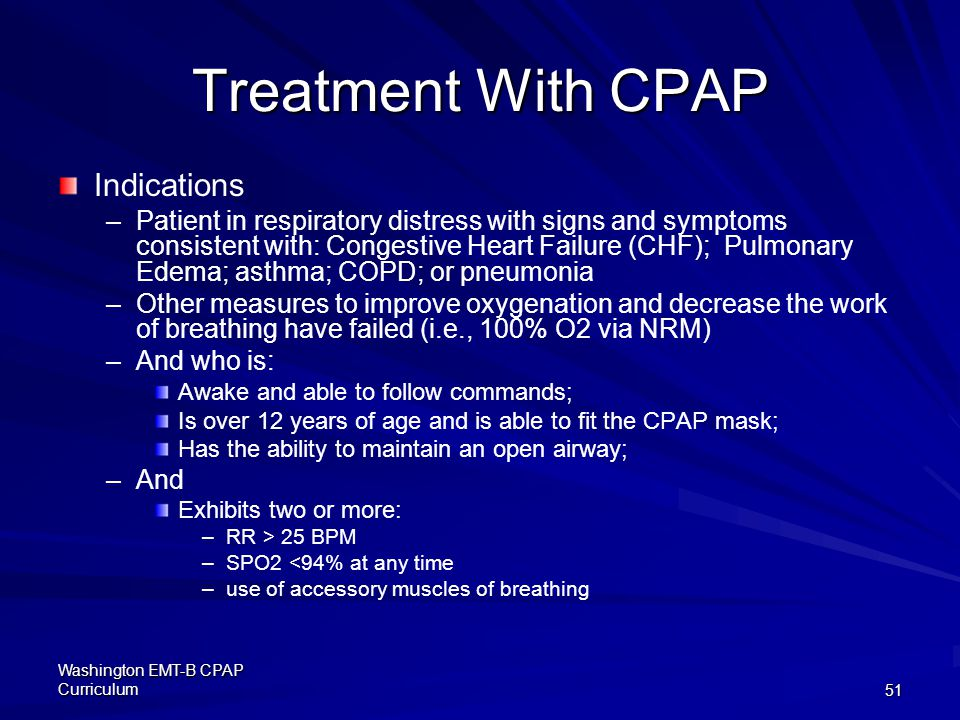 Treatment With CPAP Indications