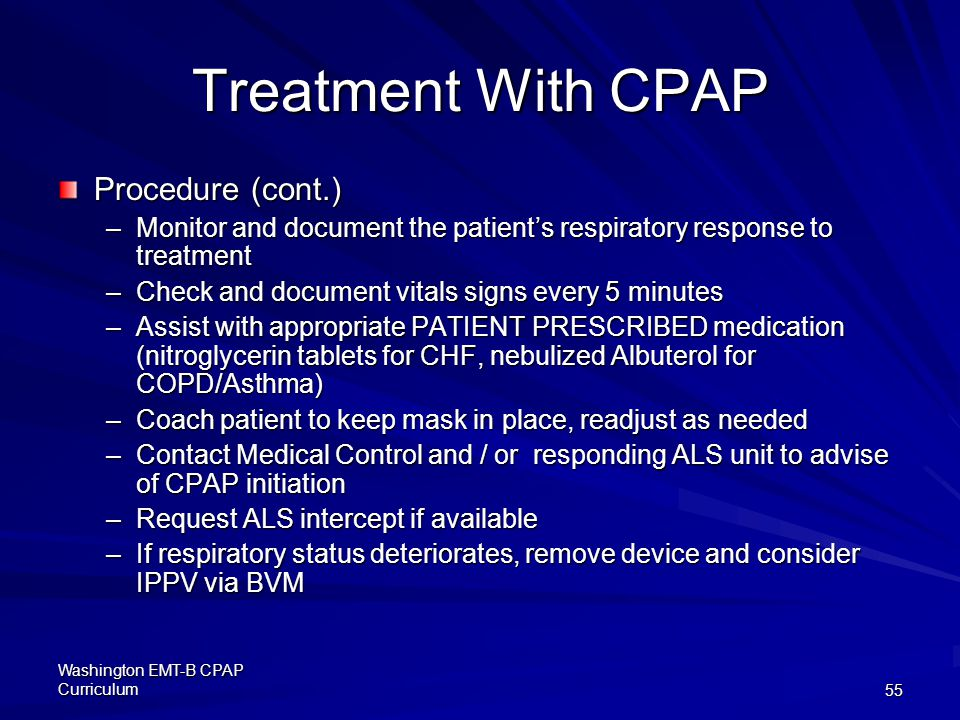 Treatment With CPAP Procedure (cont.)