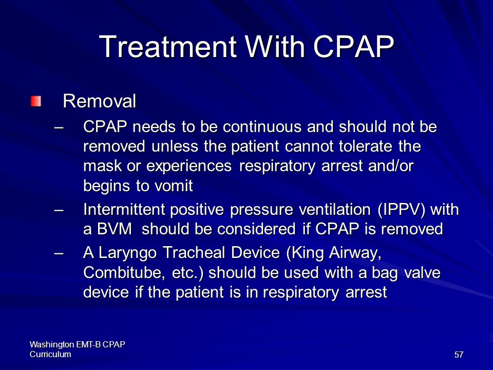 Treatment With CPAP Removal