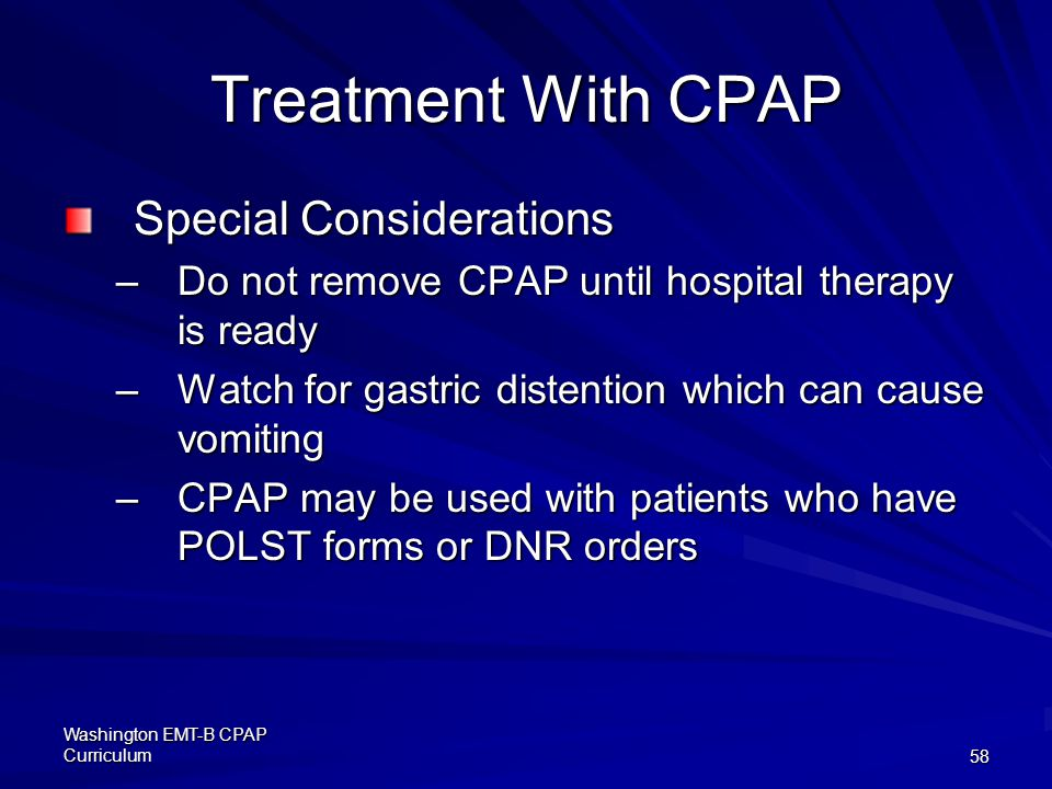 Treatment With CPAP Special Considerations