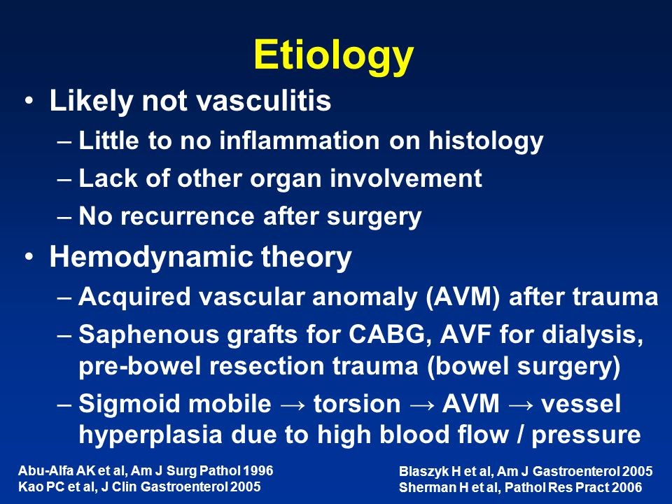 Etiology Likely not vasculitis Hemodynamic theory