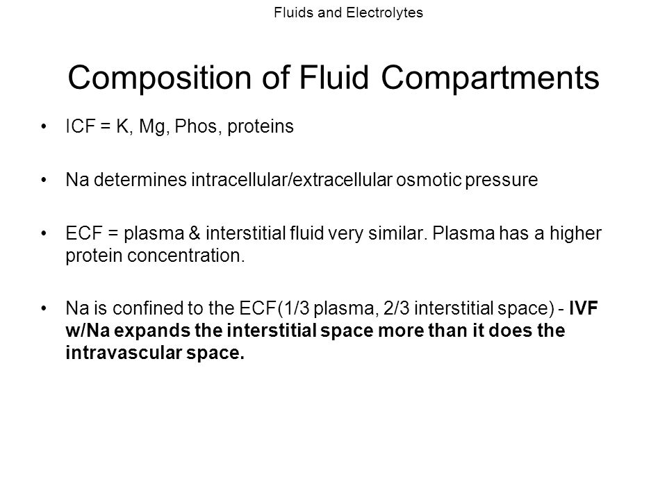 Composition of Fluid Compartments