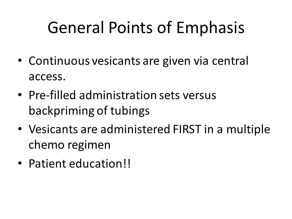 General Points of Emphasis