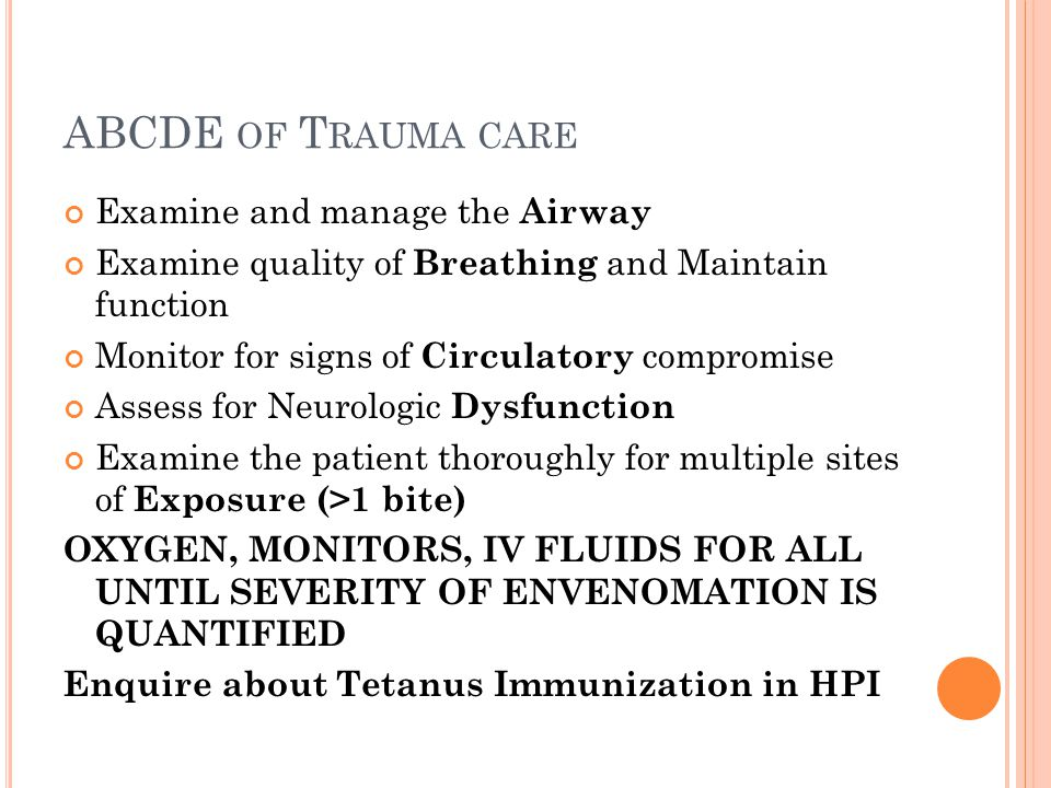 ABCDE of Trauma care Examine and manage the Airway