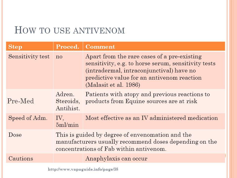 How to use antivenom Pre-Med Step Proced. Comment Sensitivity test no