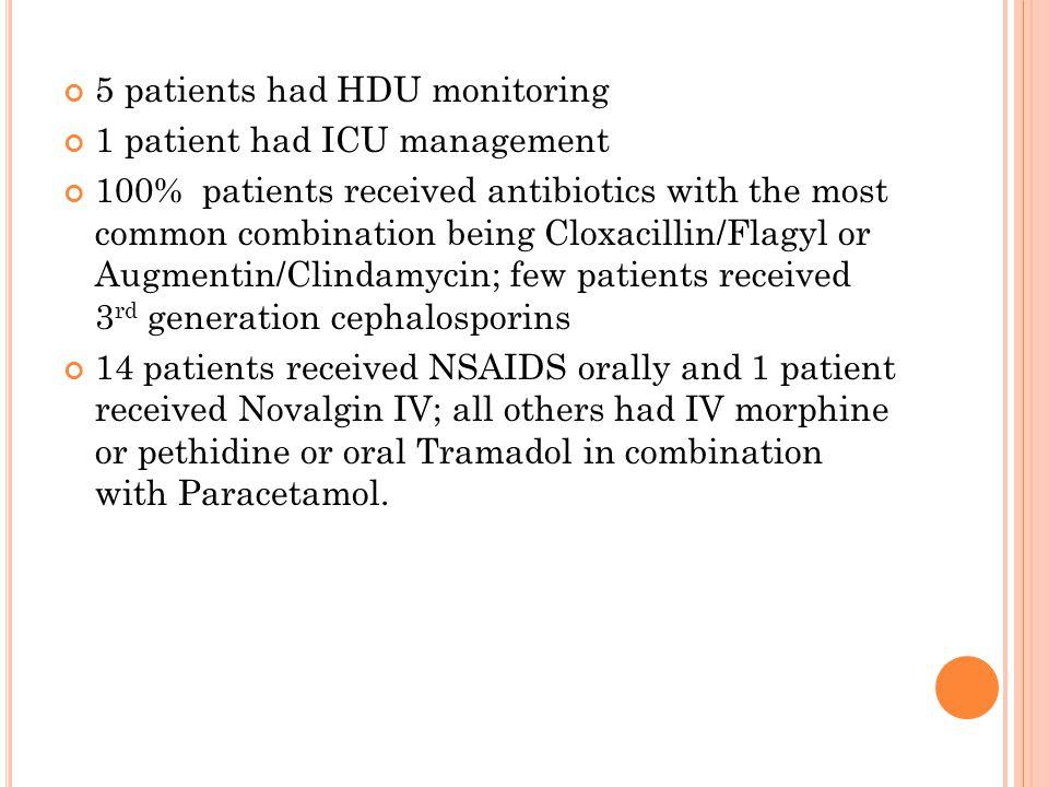 5 patients had HDU monitoring