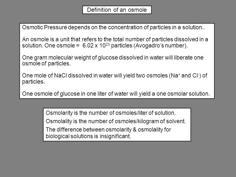 Definition of an osmole