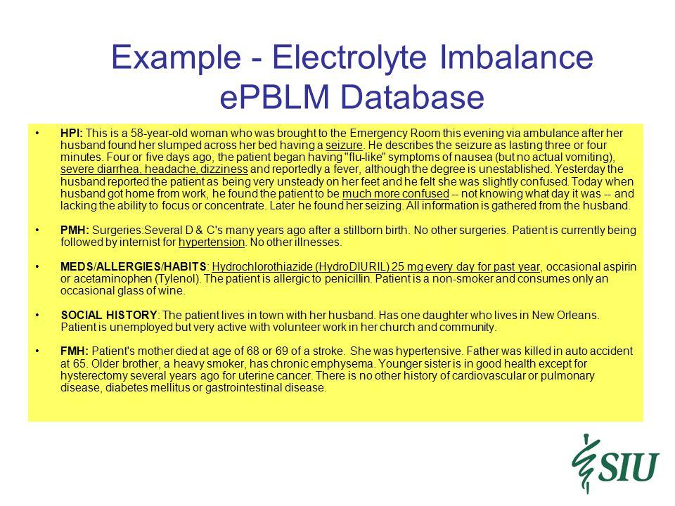 Example - Electrolyte Imbalance ePBLM Database