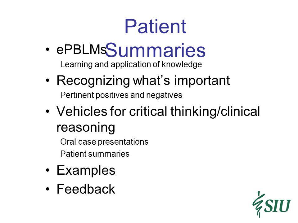 Patient Summaries ePBLMs Recognizing what's important