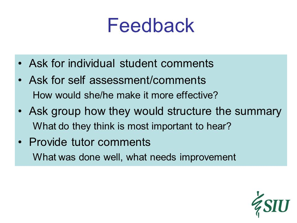 Feedback Ask for individual student comments