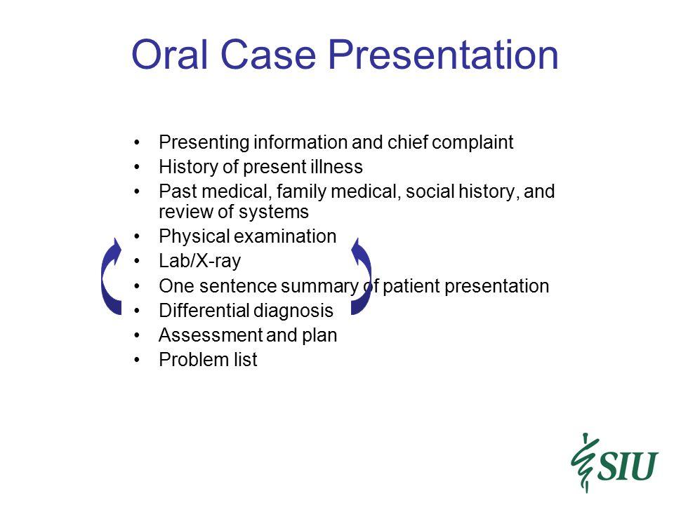 Oral Case Presentation