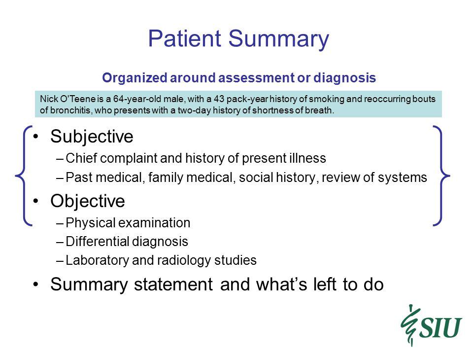 Patient Summary Subjective Objective