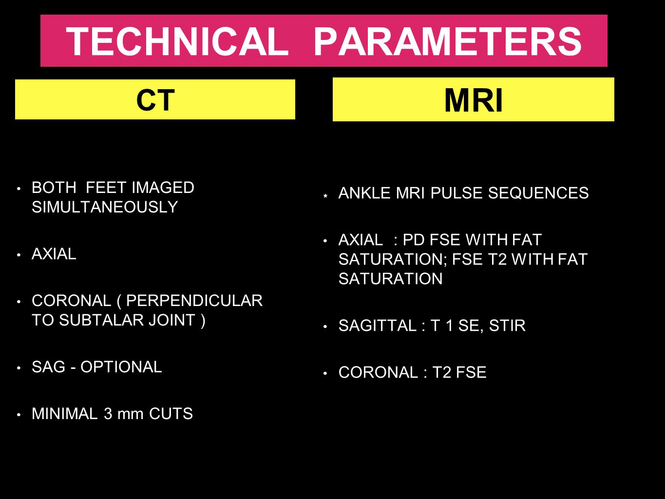 TECHNICAL PARAMETERS MRI CT ANKLE MRI PULSE SEQUENCES