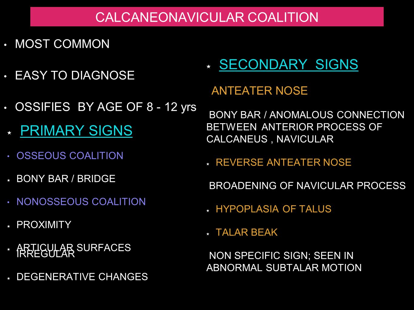 CALCANEONAVICULAR COALITION