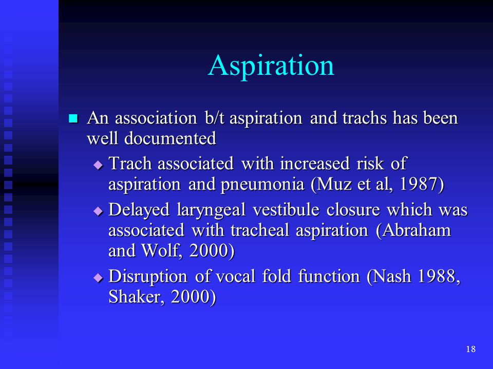Aspiration An association b/t aspiration and trachs has been well documented.