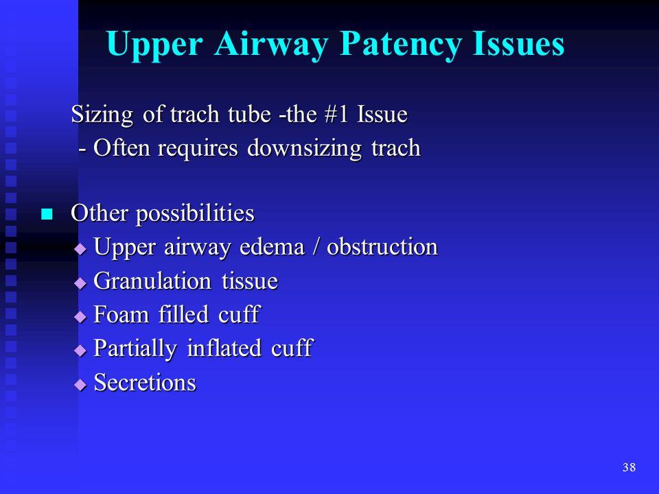 Upper Airway Patency Issues