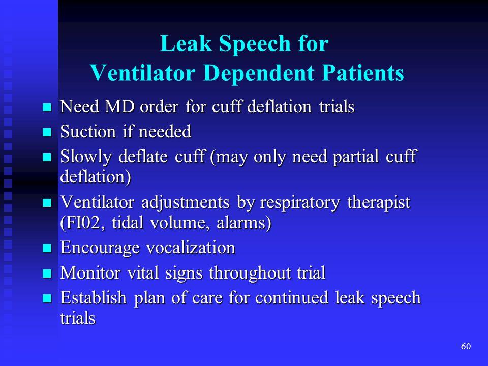 Leak Speech for Ventilator Dependent Patients
