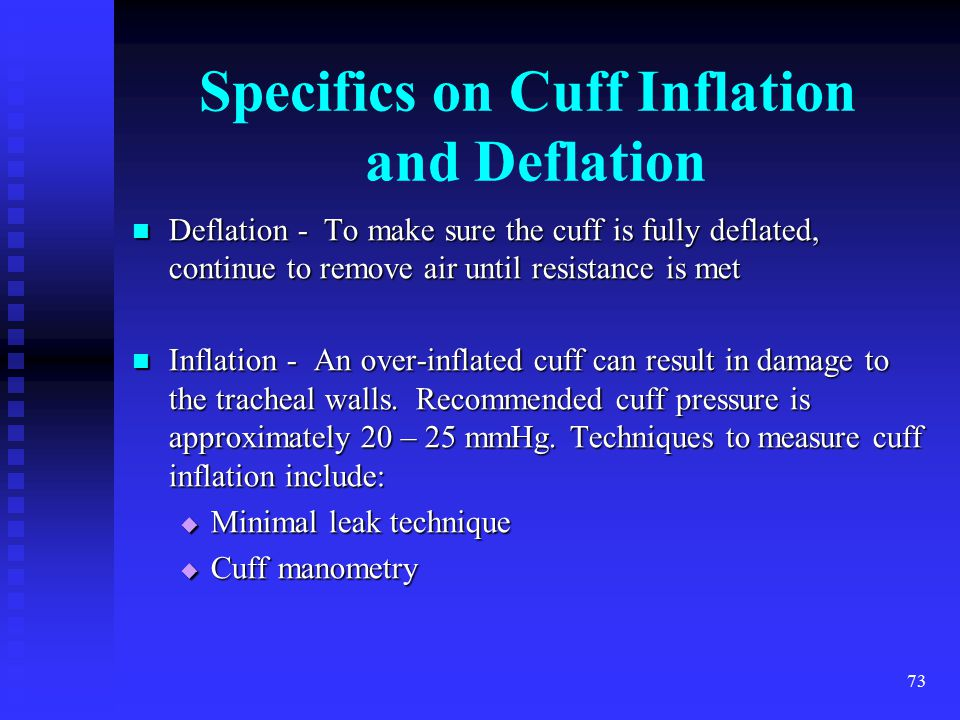 Specifics on Cuff Inflation and Deflation