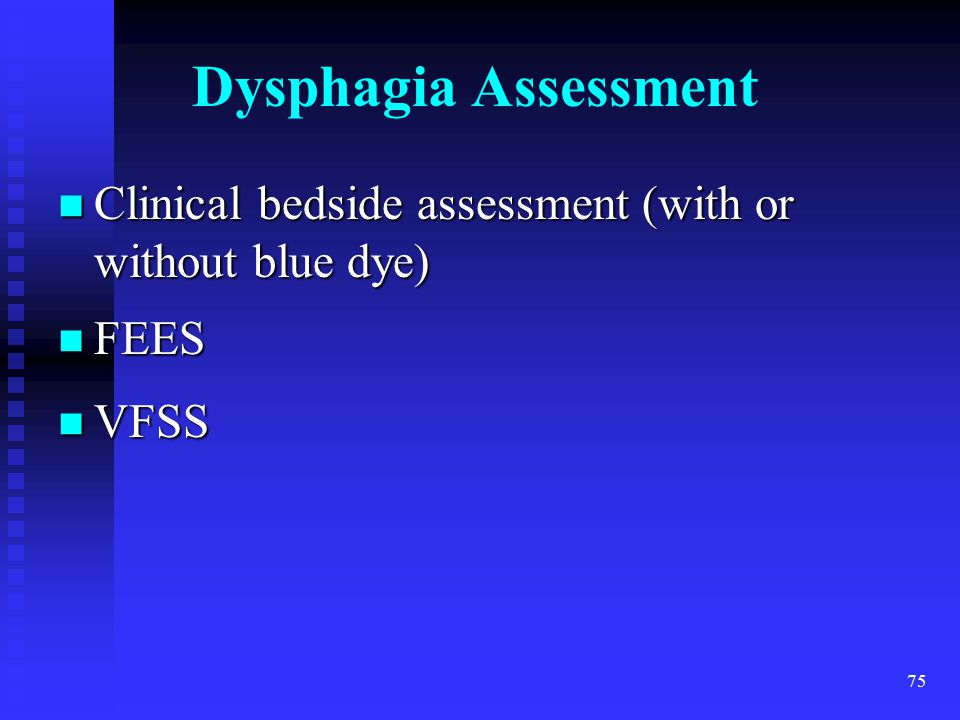 Dysphagia Assessment Clinical bedside assessment (with or without blue dye) FEES. VFSS.