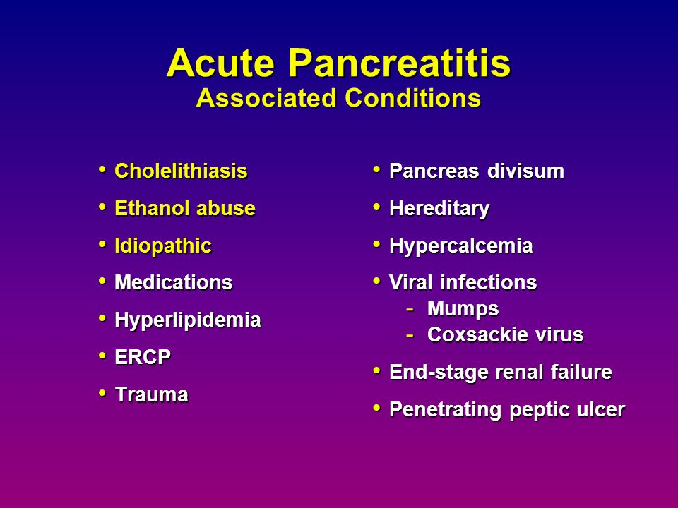 Acute Pancreatitis Associated Conditions