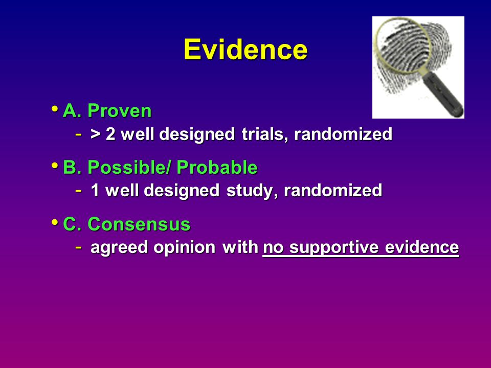 Evidence A. Proven B. Possible/ Probable C. Consensus