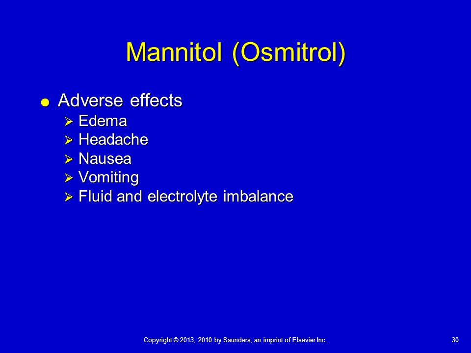 Mannitol (Osmitrol) Adverse effects Edema Headache Nausea Vomiting
