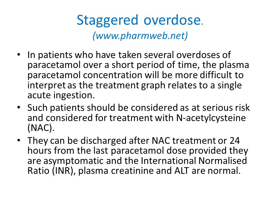 Staggered overdose. (www.pharmweb.net)